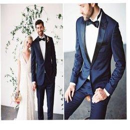 $enCountryForm.capitalKeyWord NZ - Handsome Dark Blue Groom Suits Black Peaked Lapel Wedding Tuxedos For Best Men Slim Fit Prom Suits (Jacket+Pants +Bow)