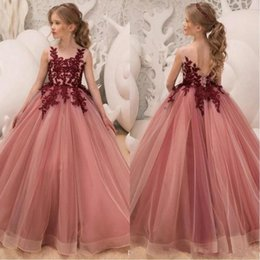 Red Birthday Dresses Australia - 2019 New Lace Dark Red A Line Flower Girls Pagent Party Dresses Jewel Neck Tulle Applique Party Dresses Princess Kids Party Birthday Gowns