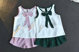 $enCountryForm.capitalKeyWord Australia - Girl's Summer Suit 2019 New Style Korean Version Baby Girl's Sleeveless Bow Top Two Pieces Fashionable Shorts Hot Wholesale