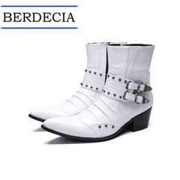 $enCountryForm.capitalKeyWord Australia - 2019 Motorcycle Boots Fashion White Genuine Leather Men Boots Buckle Rivets Men Ankle Boots Plus Size Pointed Toe Cowboy Shoes