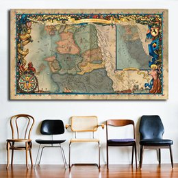 spray painting games Australia - The Witcher Map Game Canvas Painting Oil Print Poster Wall Art Picture For Living Room Home Decor