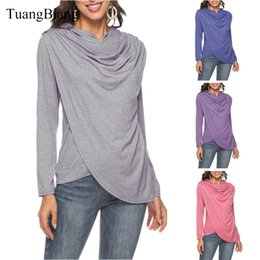 Lady T Shirts Full Australia - Women 2018 Autumn Hooded Asymmetrical Cotton T shirts Loose Full Sleeve Winter Tee Shirts Ladies Patchwork size Long Casual Tops