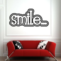 sticker cartoon smile UK - Smile Quote Wall Decal Kids Room Home Decor Vinyl Wall Stickers For Classroom Modern Office Home Decoration Art Murals