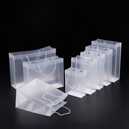 8 Size Frosted PVC plastic gift bags with handles waterproof transparent PVC bag clear handbag party favors bag custom logo LX1383 on Sale