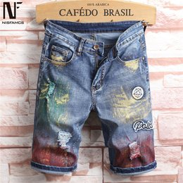 vintage mens clothing summer NZ - Colorful Summer Short Jean Men Vintage Patchwork Jeans Casual Holes Decors Hip Hop Streetwear 2019 Novelty Mens Fitness Clothes