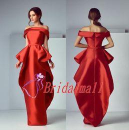 ElEgant sExy rEd drEssEs online shopping - Portrait Elegant Sheath Red African Prom Dresses Tiered Peplum Long Formal Evening Gowns Kftan Arabic Party Dress Vestidos de fiesta