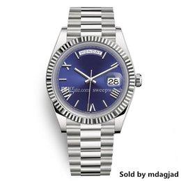 Discount luxury swiss automatic watches men - Daydate Luxury Mens Watch President Automatic Watches Men Silver Strap Blue Dial Crown Watches Men Swiss Designer Watche