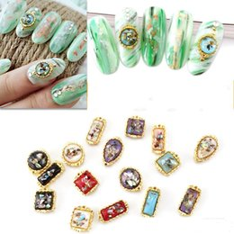 3d design nail Canada - 100pcs 20 Designs 3D Alloy Gem Shell AB Flatback Multi-Colors Nail Rhinestones Nail Charms For Nail Art Decor Jewelry Stones V#1