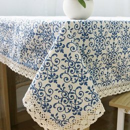 Table Cloth Chinese Australia - Retro Blue and White Table Cloth with Lace Cotton Print Chinese Style Rectangular Dinning Tablecloths Cover Home Decor ZB-9 D19010902