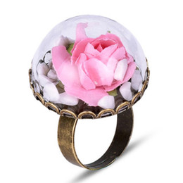 $enCountryForm.capitalKeyWord Australia - New Vintage Accessories Real Dried Rose Flower Half Round Glass Vial Rings For Women