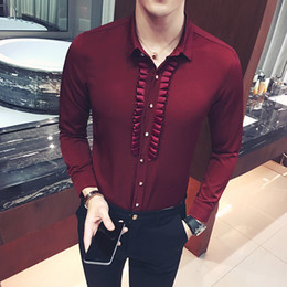 mens party shirts white Australia - Pleated Mens Dress Shirt Party Wedding Social Shirts Pattern Men Fitted Male Shirt Black Wine Red White Metrosexula Dinner