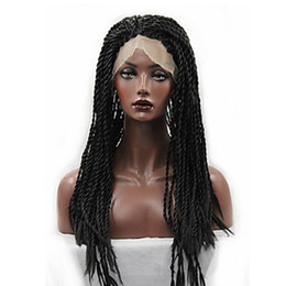 twist wigs 2019 - High Quality 1b# Black Twist Braiding Synthetic Wigs Heat Resistant Box Braided Glueless Synthetic Lace Front Wigs for B