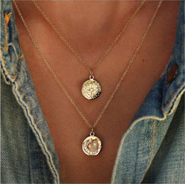 White Gold Disc Charm Australia - 2019 two layers necklace sun star moon disc alloy pendant Imitation Diamond Gold plated O metal chain