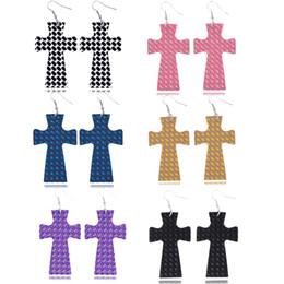$enCountryForm.capitalKeyWord Australia - Fashion Boho Jewelry Rainbow Glitter Leather Cross Dangle Earrings for Women Pu Leather Earrings