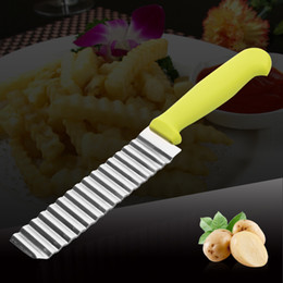 Discount wave cutter - Newest Stainless Steel Wave Knife Potato Cutting Corrugated Knife Fries Chips Cutter Slicer Cooking Tools VT0336