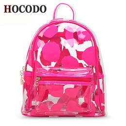 clear color backpack Canada - Fashion Clear PVC Backpack Female Jelly Color Mini Backpack Cute Transparent Ladies Small For Girls Travel Bag