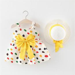 Kids European Hat Australia - New Summer Baby Girls Dots Slip Dress Kids Bowknot Cotton Princess Dresses Children Causal Dress With Hat 4844