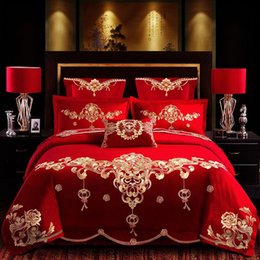 Discount ruffle wedding set bedding - 2019 High Quailty 5 pcs Luxury King Queen Size Brand Embroidery wedding 100 cotton chinese red Bedding SetHappiness Long