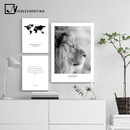 Lion canvas print online shopping - Scandinavian Black White Poster Nordic Canvas Wall Art Print Africa Animal Lion Painting Decorative Picture Home Decoration