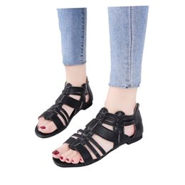 $enCountryForm.capitalKeyWord Australia - New solid zip open toe women's flat flat Roman sandals women's casual breathable comfortable high to help fish mouth sandals