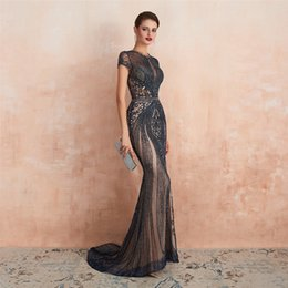 $enCountryForm.capitalKeyWord Australia - Luxury Navy Blue Rhinestones Mermaid Evening Dresses Long Evening Gown Crystal Beading Prom Party Gowns Cap Sleeve 2020 Pageant Dresses