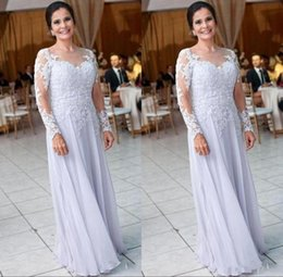 $enCountryForm.capitalKeyWord UK - Modest Chiffon Long Sleeve Mother Dresses for Wedding Lace Appliques Sequins Mother of the Bride Dress Women Formal Wear