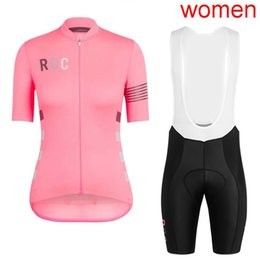 Women lycra clothing online shopping - High quality pro team RCC Women Classic Short sleeve Cycling Jersey cycling shirt bib shorts set Breathable road bike clothes Y032001