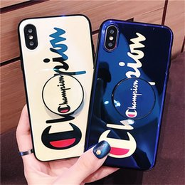 Wholesale For iphone X XS MAX XR case luxury fashion champion Expanding Holder Stand Mirror Phone case cover for iphone S plus TPU soft shell