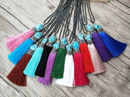 hematite pendants NZ - 5 Strands Hematite beads Chains necklace,Howlite Blue stone Tassel Charm Pendants Pave Crystal Rhinestone Jewelry necklaces NK294