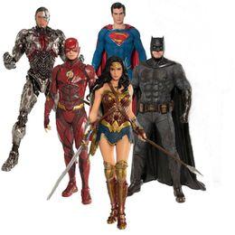 DC JUSTICE LEAGUE BATMAN SUPERMAN WONDER WOMAN AQUAMAN FLASH CYBORG 6x FIGURINES
