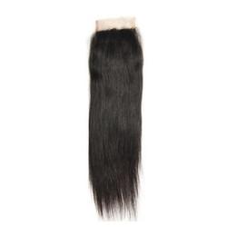 Toptan satış 10A 4x4 Düz Dantel Kapatma Brezilyalı Remy İnsan Saç Ücretsiz Orta Kapatma Düz Üst Kapaklar Doğal Renk 8-20 inç
