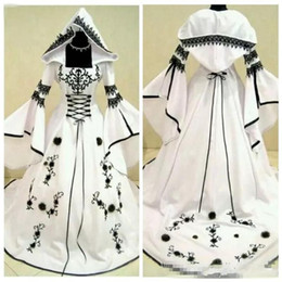 $enCountryForm.capitalKeyWord Australia - Classic A-Line Black Lace Embroidery White Satin Gothic Wedding Dresses With Hat Flowers Adorned Vestidos De Mariee Plus Size Bridal Gowns