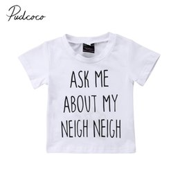 wholesale baby tee shirt NZ - 2019 Baby Summer Clothing Toddler Baby Boy Girls Letter T-shirt Short Sleeve Kids Clothes New Infant Tees Inside Print Clothes