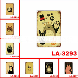 movie tin signs wholesale NZ - 24PCS Movie Totoro Paiting Retro Metal Tin Signs Vintage Posters Metal Plaque Old Wall Home art Wall Decor Art Pictures