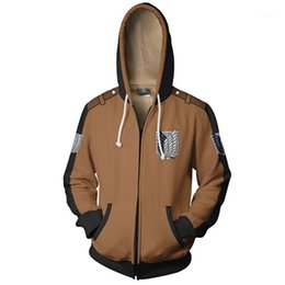 attack titan jackets Canada - Perpetual 3D Print Mens Zipper Fly Coat Homme Fashion Clothes Mens Jacket With Attack on Titan