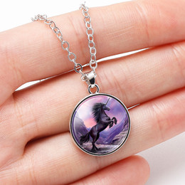 $enCountryForm.capitalKeyWord Australia - 10PC Unicorn Horse Moon Necklace For Children Kids Glass Cabochon necklaces Women Girl Jewelry Party Birthday Gifts