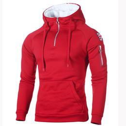 China hoodies Men's Sweater Decorative Zip Neckline Hooded Long Sleeve Sleeve Rice Sticker Pocket Sweatshirt New Arrival cheap new rice suppliers