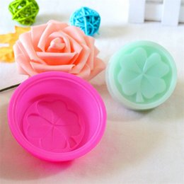 Round silicone molds online shopping - Lucky Clover Diy Cake Moulds Food Grade Soft Silicone Round Handmade Soap Mould Baking Molds For Home Kitchen qc E1