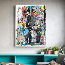 Discount abstract art paintings for kids Banksy Graffiti Paintings Pop Art For Kids Room Home Decor Handpainted &HD Print Oil Painting On Canvas Wall Art Canvas