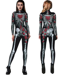 $enCountryForm.capitalKeyWord Australia - 2019 new 3d skeleton digital printing jumpsuit ladies fashion personality funny tights jumpsuit women costumes