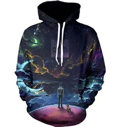 Mode Galaxy 3D Printing Herrensportkleidung Hip Hop Mode Pull Over Winter-Pullover mit Kappe und Tasche fz2378