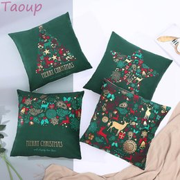 christmas pillows Canada - Taoup Noel Green Merry Christmas Pillowcase Ornaments Christmas Decoration for Home Soft 45*45cm Xmas Pillow Case Santa Claus