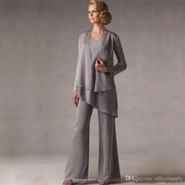 $enCountryForm.capitalKeyWord NZ - Elegant Grey Chiffon Weddings Mother of The Groom Bride Suits With Jacket Women Mother's Pants robe de mere de mariee Custom Made