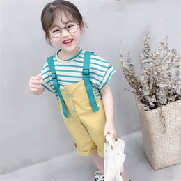 Wholesale 2019 Summer Kid Girls Clothes Set Baby Green Striped Short Sleeve T shirt Jumpsuit Short Pants Clothing Suit Years