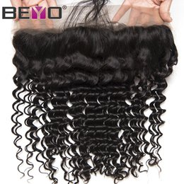 Brazilian lace closure 13x4 online shopping - 13X4 Ear To Ear Lace Frontal Closure Deep Wave Frontal Human Hair Closure Brazilian Hair Free Three Middle Part Closure Remy Beyo