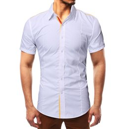 f859c233229d13 High quality 2019 Men Fashion Solid Pathwork Style Design Smart Casual  Shirts Tops polyester acrylic Blouse W419