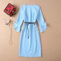 Blue Sashes Belts Australia - European and American women's fashion 2019 spring new style Three-quarter flared sleeve blue Fashion belt dress