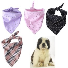 Chinese  Pet Dog Cat Triangle Neck Scarf Necktie Bandana Collar Neckerchief Printed Dog Plaid Scarf Bandanas Large Size Lattice DH0544-1 T03 manufacturers