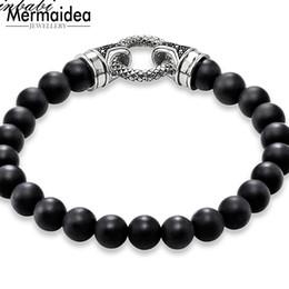 Onyx Silver Bracelet Australia - Black Onyx Silver With Clasp Length 16-25cm For Men Women Trendy Gift Rebel Bracelet Fir Heart Charm
