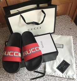 abb4ff178 Kitten tie online shopping - 2019 Black Rubber Slide Sandal Slippers Green  Red White Stripe Fashion
